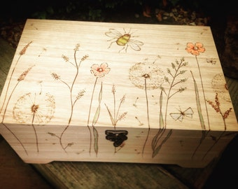 Personalised Wooden Keepsake Box - Floral Birthday Gift - Unique Jewellery Box - Ooak - Flowers and Bees - Childrens Memory Box - Hand Drawn