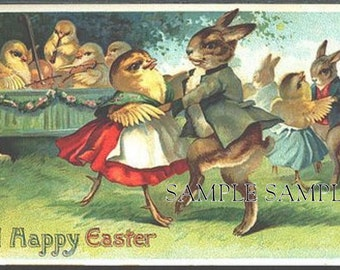 Digital download INSTANT,Easter chic  and rabbit dance, GREAT, decoupage, collage,sewing.ornaments