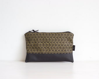 Black leather and linen pouch, Gold pattern clutch, Evening clutch