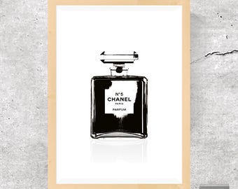 Chanel Print, Chanel Perfume, Fashion Print, Fashion Poster, Black and White, Minimalist Print, Fashion Art, Chanel Nº 5, Perfume Bottle