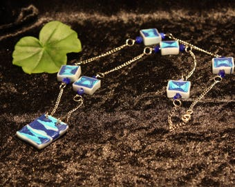 Blue Polymer Clay Necklace