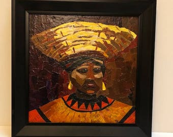 African Inspired painted paper collage - framed