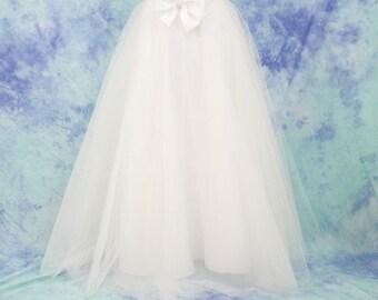 Long tulle skirt, bridal skirt, tulle bridesmaid skirt, wedding dresses, prom dress, white tulle skirt