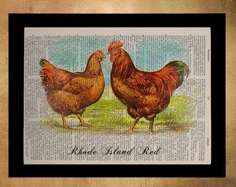 Vintage Chicken Print, Rhode Island Red, Chicken Wall Art, Home Decor, Dictionary Art Print, Bird Animal da910