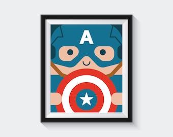 Boys Superhero, Captain America, Avengers Print, Superhero Kids, Superhero Room, Captain America Print, Superhero Poster, Superhero Prints
