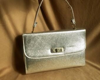 Vintage Silver Handbag, Silver Metallic Handbag, Silver Purse, 70's Handbag, Top Handle, Structured Purse, 70's Handbag, Disco, Vegan Purse