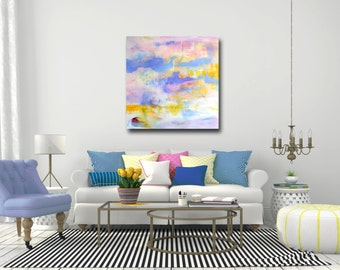 Large Abstract Print, Pink and Blue Wall Art, Canvas Giclee from Painting, Expressive Canvas Art, Colorful Painting Print, Blue, Pink Yellow