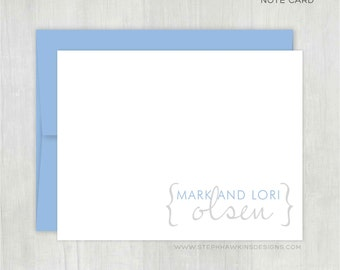 Personalized Note Cards Set • Couples Bracket {FOLDED} • 10 Note Cards with Envelopes • Couples Stationery • Couples Thank You Notes