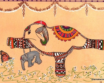 Yoga Art  Hindu Elephant Painting  in Warrior III Zendoodle Art Mother's Day