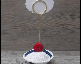10 place cards sailor beret for the crochet for: wedding...