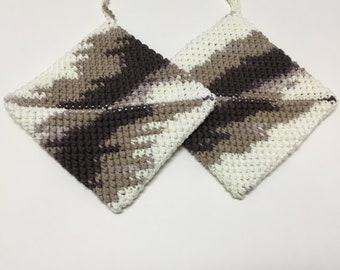 White, Taupe, Brown,Graphic Pot Holder, Hot Pad, Handmade, Set of 2, Kitchen Accessories