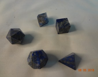 Geometry sets in Lapis LAZULI, black tourmaline & Pyrite