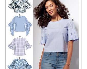 McCall's Pattern M7542 Misses' Tops with Trumpet, Tulip, Pleated or Bubble Sleeves