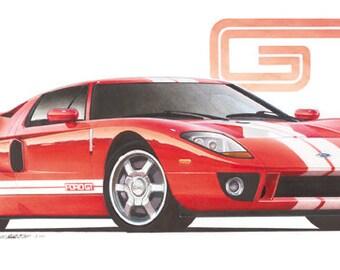 2005 Ford GT 12x24 inch Art Print by Jim Gerdom