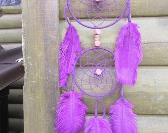 Dream catcher, handmade dreamcatcher, purple, ostrich, wall decor / actual 50 cm
