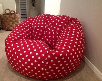Bean Bag Cover, Kids Bean Bag, Polka Dots Adults Bean Bag, Boys Bean Bag,  Pink Bean Bag Cover Blue Bean Bag Red Bean Bag Playroom, Bedroom.