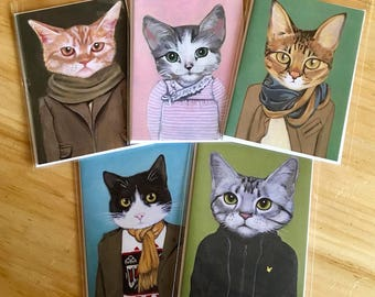 Museum of Israel Set - Greeting Cards - Blank Inside - Cats In Clothes
