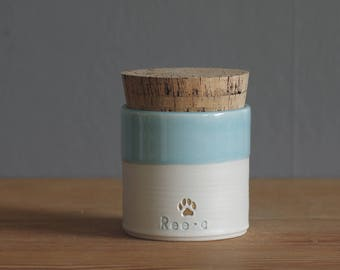 pet urn.  straight shaped urn with custom stamp. modern simple urn for ashes. cremation urn. ice blue, porcelain with gold filled stampshown