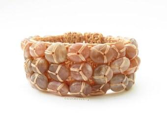 Stone bangle with beige wax thread, pink brown stone bracelet, free size bracelet