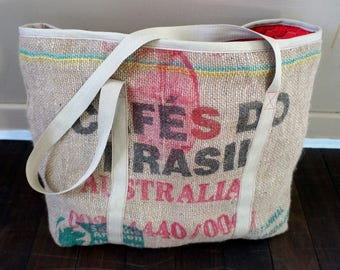 Large  tote bag made from recycled  coffee bags and lined with red quilting