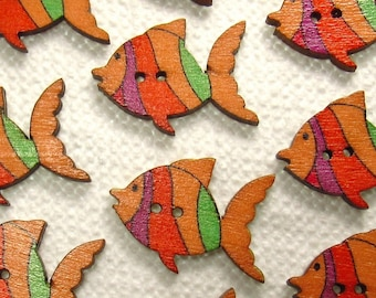 "Orange, Purple & Green Stripes: 1-1/16"" (27mm) Fish-Shaped Buttons - Set of 10 New / Unused Wooden Buttons"