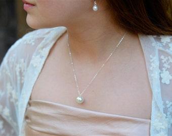 Pearl Junior Bridesmaid Jewelry Set, Pearl Bridesmaid Jewelry, Jr Bridesmaid Choose Pearl Color, Jewelry Gift Set, Pearl Bridesmaid Set