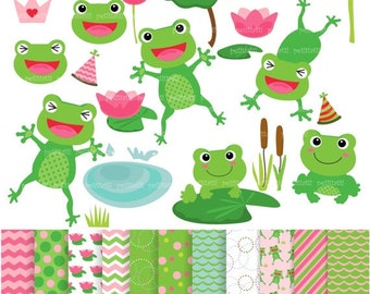 ON SALE frog clip art - Matching frogs clip art and digital papers, Summer pond, instant download, green,digital paper clip art