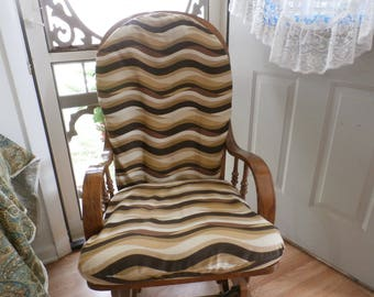 Nursery - UpCycle Glider Rocker Slip Cover For Your Glider Cushions - Brown Wave Designer Fabric  Designer