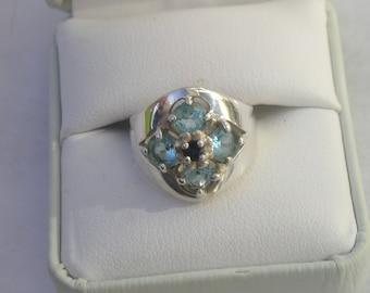 Lovely Blue Topaz & Sapphire Sterling 925 CNA Ring Size 6
