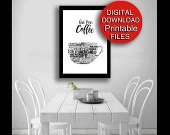 Printable, But First Coffee Art - Coffee Print for Kitchen Digital 5x7 8x10 11x14 16x20 24x36 A4 A3