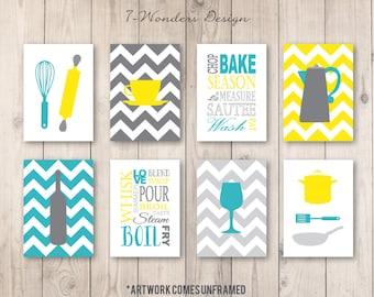 Amazing Kitchen Art Prints, Utensils, Appliances, Subway, Coffee, Wine Set Of (