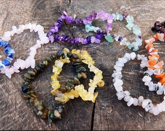 Your Choice of 9 Gemstone Chip Elastic Bracelets