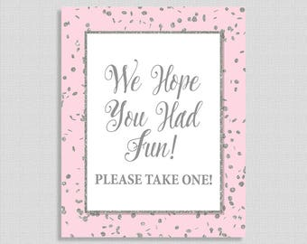 Party Favor Sign, We Hope You Had Fun, Pink Silver Glitter Confetti, Baby Girl Shower Favor Sign,  INSTANT PRINTABLE