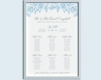 Classic Floral Wedding Table Plan | Wedding Seating Plan | Olivia Range