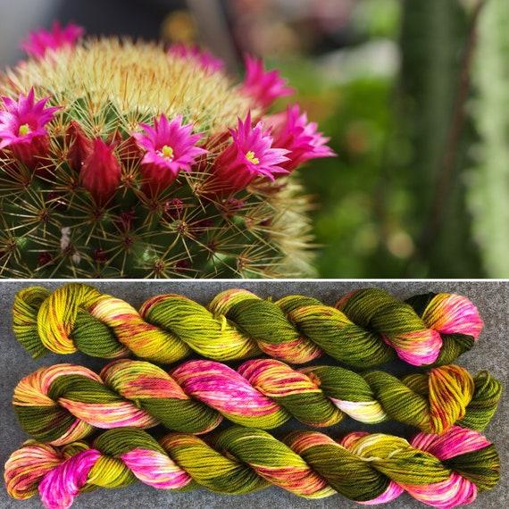 Flowering Cactus 20g Miniskein, indie dyed merino nylon sock yarn