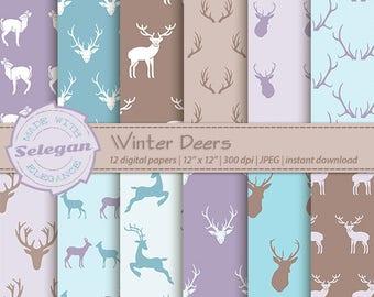 Winter Deers, Digital Paper, Christmas,Deer,X mas,Antlers,Scrapbooking, Paper, 12x12, Printable, Pattern, Wild, Animal, Background, Download