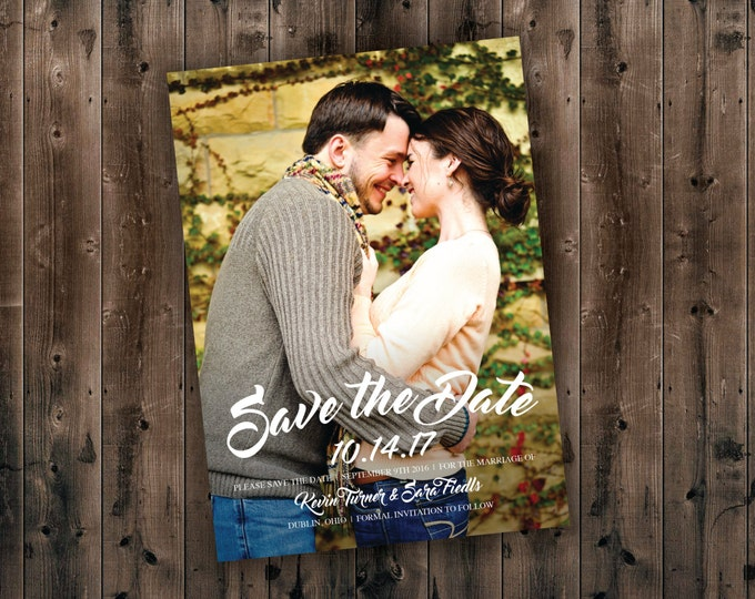 Photo Save the Date Cards Printed - Postcards, Cheap, Photo, Unique, Announcements, Custom, Affordable, Photograph, Classic, Gold