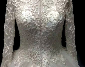 High Neck Simple Elegant Long Sleeve  Floor Length French Lace Wedding Bridal Ball Gown Dress Absolutely Loaded with Bling