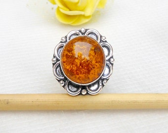 Amber Ring Yellow Baltic Amber Rings Gemstone Jewelry Designer Ring Birthstone Ring Gift Ring amber jewelry amber silver ring Sz 9.5