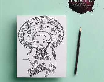 Coloring Page: Mariachi Baby
