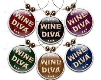 Wine Diva Wine Glass Charms, Wine Charm, Wine Gifts, Colorful, Diva Gifts, Wine Charms, Wine Accessory, Wine Jewelry, Diva Charms, Set of 6