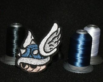 Blue Shell - Mario Kart - Iron on patch - Shiny Metallic Embroidered.