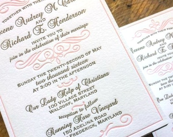 Antique Gold and Blush Pink Letterpress Wedding Invitation
