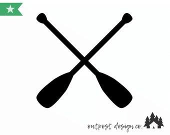 Paddle/Oar Crossed - Digital Cut File for Silhouette or Cricut - SVG