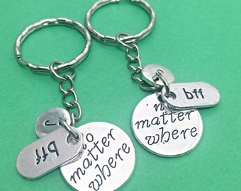 SET OF 2 Best Friend Keychains - set of 2 charm, no matter where personalized, initial keychain, friendship jewelry, gift for best friend