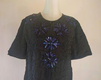 Black & Blue Floral Sequin Beaded 1X Evening Dress