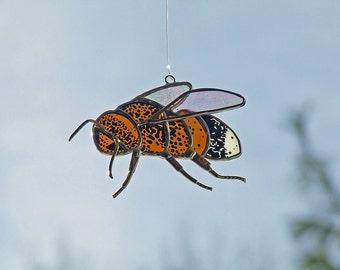Stained Glass Bee, Cartoon Bee Sun Catcher, Unique Beekeeper Gift