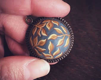 One Of A Kind ~ Hand Made Cabochon in Deep Teal Clay set in Brass with coordinating chain.  By: Brooke Baker