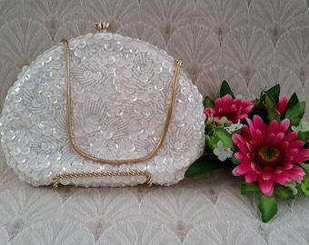 Goldco Beads and Sequins Creamy White Handbag, Made in Hong Kong