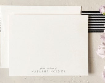 Personalized Stationery - From the Desk Of - Custom Notecards - Simple Stationery - Gift for Her [Q118-017]
